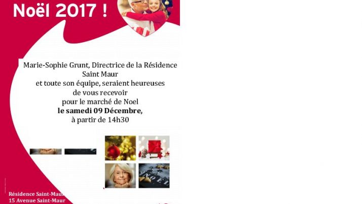 Marché de Noël- Résidence Saint – Maur. Samedi 9 décembre.