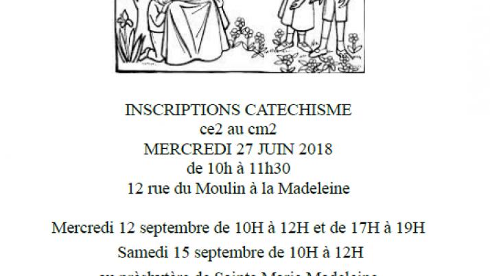 Inscriptions au catéchisme.27 juin 2018